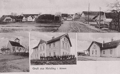 Rodný Meclov na staré pohlednici