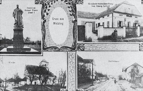 """Další """"Pozdrav z Meclova"""" zachycuje i obchod smíšeným zbožím Georga Leberla a pomník císaře Františka Josefa"""