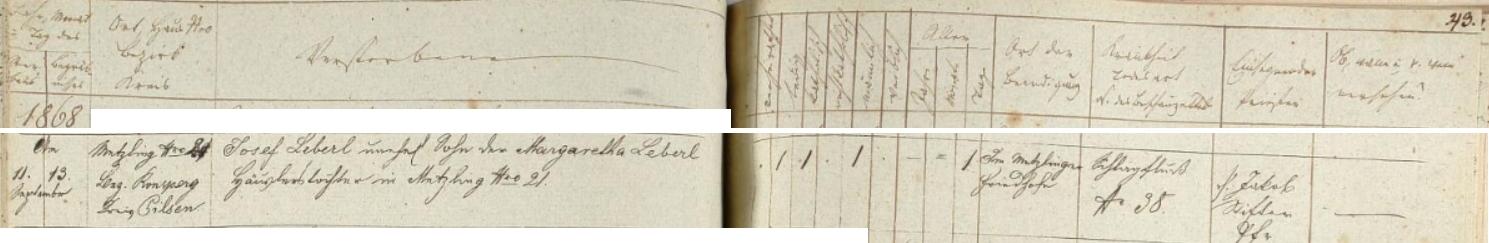 Záznam meclovské úmrtní matriky o skonu jeho děda Josefa