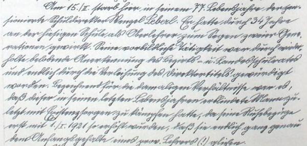 Záznam kroniky města Všeruby o úmrtí otcově