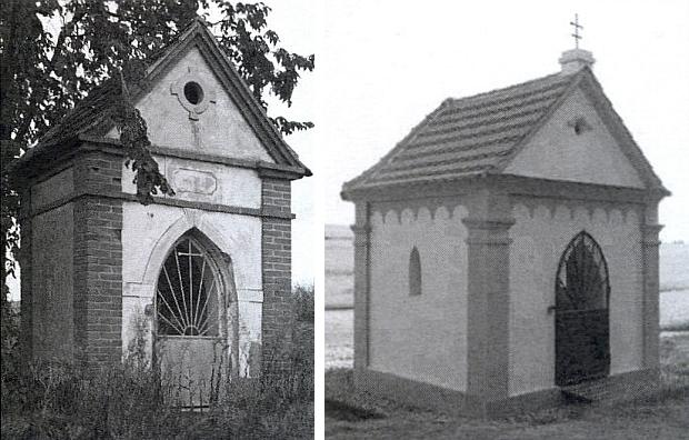 Dvě kaple v rodných Semněvicích, jedna (ta vlevo) směrem na Křakov, ta druhá, obnovená v roce 2008, cestou k Bukovci
