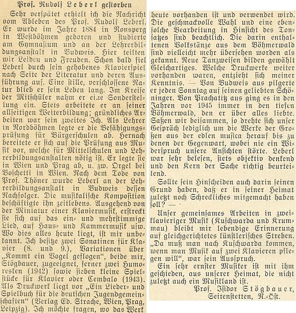 Nekrolog z pera prof. Isidora Stögbauera, který uvádí mylně jako místo Leberlova narození Poběžovice (Ronsperg, i česky dříve Ronšperk)