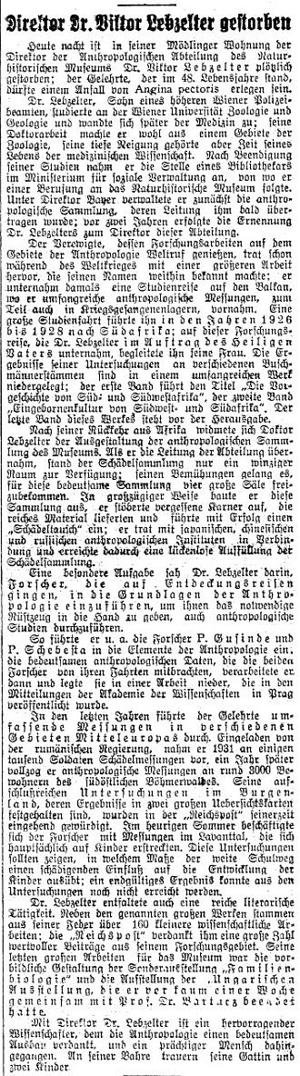 Dvě zprávy o jeho úmrtí ve vídeňském tisku