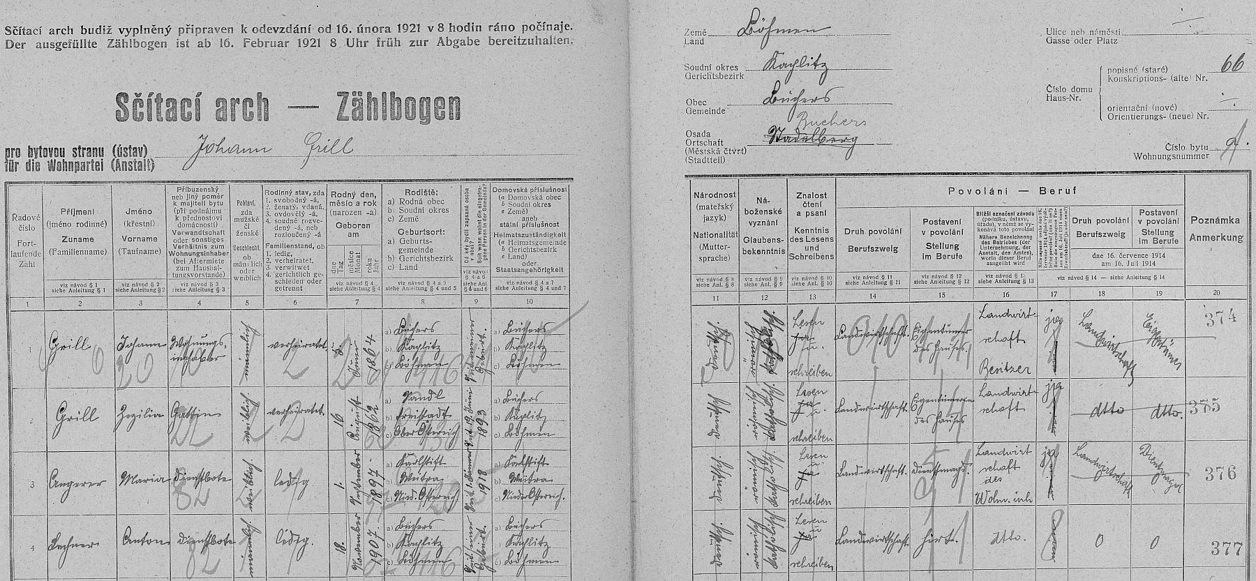 Arch sčítání lidu z roku 1921 pro dům čp. 66 v Pohoří na Šumavě i s ním