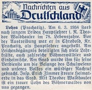 Nekrolog jeho učitele v Chrobolech Theodora Waldhausera na stránkách krajanského měsíčníku