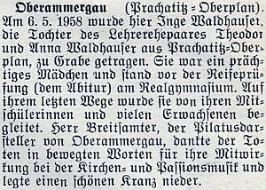 Zpráva o úmrtí Waldhauserovy dcery Inge v Oberammergau nedlouho před dívčinou maturitou