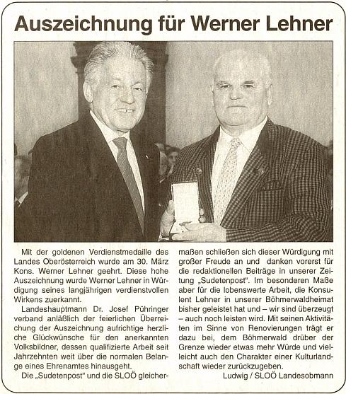 K udělení zlaté medaile za zásluhy o spolkovou zemi Horní Rakousko Werneru Lehnerovi na stránkách rakouského krajanského listu