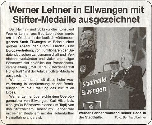Hovoří v Ellwangen při akci k 750. jubileu vyšebrodského kláštera, kde mu byla udělena medaile Adalberta Stiftera