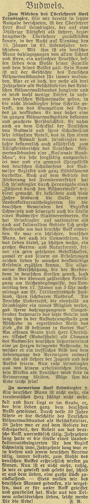 Obsáhlý nepodepsaný nekrolog v českobudějovickém německém listě pokračuje kratším sautorskoušifrouF.R.