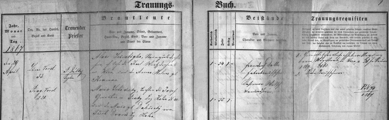 Záznam českobudějovické oddací matriky o svatbě jeho rodičů