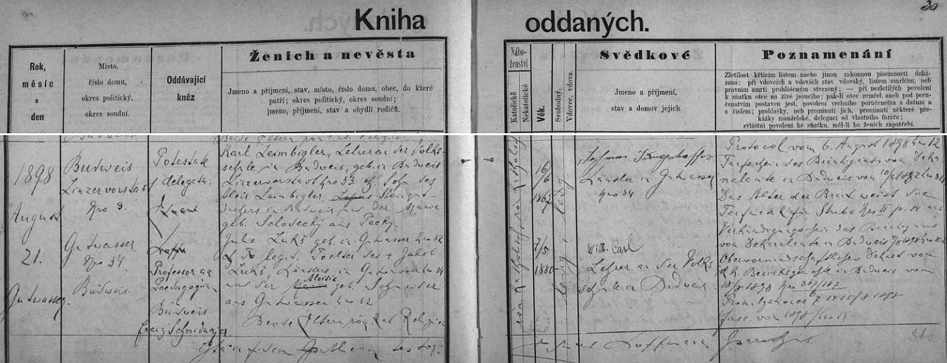 Záznam o jeho svatbě s Julií Lukšovou v oddací matrice farní obce Dobrá Voda u Českých Budějovic