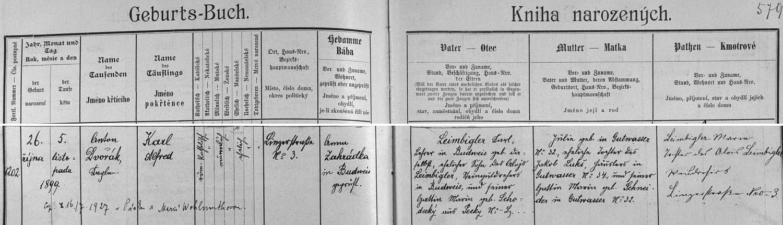 Záznam českobudějovické křestní matriky o narození syna s přípisem o jeho písecké svatbě necelé dva roky před otcovou smrtí