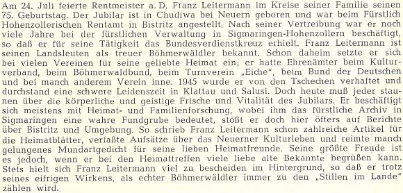 K jeho pětasedmdesátinám, slaveným v červnu 1969, se takto na stránkách krajanského časopisu rozepsal Franz Seidl