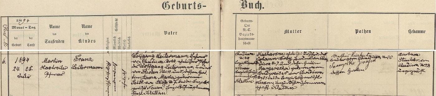 Podle tohoto záznamu v křestní matrice farní obce Červené Dřevo (Rothenbaum) narodil se v Chudeníně čp. 40 zdejšímu učiteli Wolfgangu Leitermannovi (jeho otec Wolfgang Leitermann byl rolníkem v blízké vsi Fleky /Flecken/ čp. 11, matka Anna Maria, roz. Seidlová, pocházela z Plání /Plöß/ čp. 7) a jeho choti Katharině, dceři rolníka vChudeníně čp. 7 Johanna Breie a Margarethy, roz. Budweiserové z Chudenína čp. 21, kmotry chlapcovými byli pak rolník z Chudenína čp. 26 Mathias Zierhut se svou chotí Franziskou