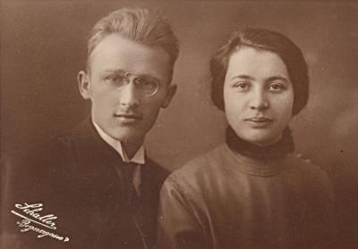 Svatební foto Franze Leitermanna a jeho ženy Hedwig, roz. Wolfové (1900-1988) z roku 1923