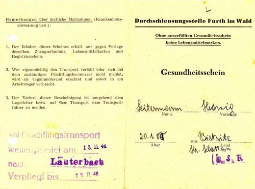 """""""Zdravotní průkaz"""" jeho ženy, vydaný jí po odvšivení v tranzitním táboře ve Furth im Wald"""