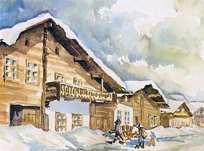Zimní Volary na akvarelu Heinze Steidla podle staré fotografie Soumarské ulice