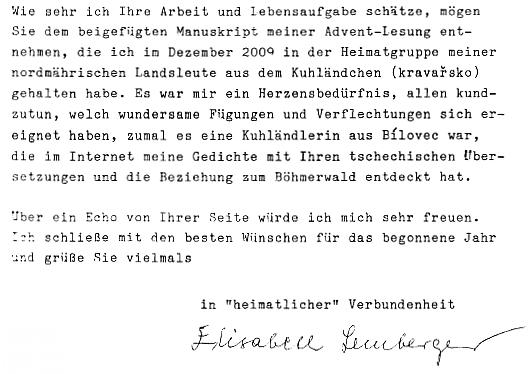 Závěr jejího dopisu autorovi Kohoutího kříže...