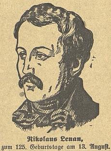 Ke 125. výročí jeho narození otiskl budějovický německý list tuto Lenauovu kreslenou podobenku
