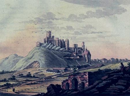 Vyobrazení hradu Rabí od Antonína Pucherny a Leopolda Peukerta, datované v literatuře rokem 1797
