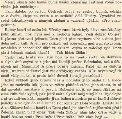 """Jaroslav Schiebl se pokusil volně reprodukovat báseň Börriese von Münchhausen v článku, věnovaném """"Žižkovu bubnu"""", uchovávanému vplzeňské radnici a pak v muzeu - jde ovšem o mystifikaci staršího data"""