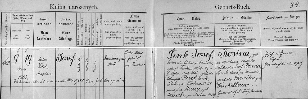 Záznam o jeho narození 23. října 1905 v českobudějovické křestní matrice