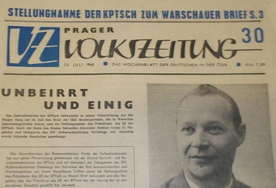 """Jedno z čídel """"reformního"""" období týdeníku """"Prager Volkszeitung"""", kam byl Lenk povolán roku 1970 jako """"normalizátor"""""""