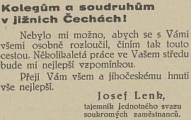 Takto se česky loučil s prací tajemníka Jednotného svazu     soukromých zaměstnanců v jižních Čechách
