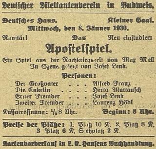 V prvním čísle českobudějovického listu roku 1930 je uveden jako dramaturg a herec avizovaného představení ochotnického divadelního spolku