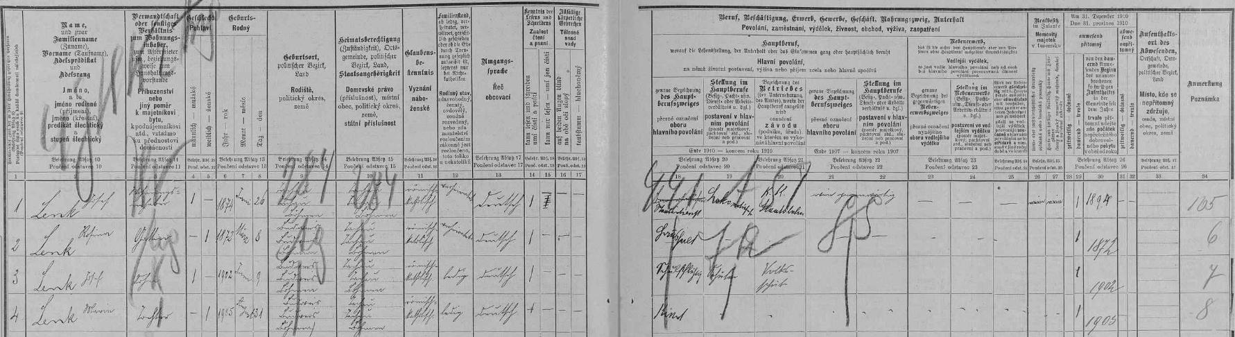 Arch sčítání lidu z roku 1910 pro dům čp. 4/385 v tehdejší českobudějovické Rosenauerově ulici s rodinou Lenkovou