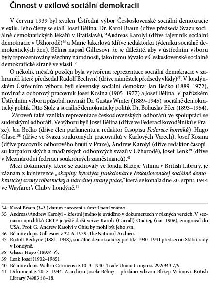 """O jeho činnosti v exilové """"Československé sociální demokracii"""" zbritských archivů"""