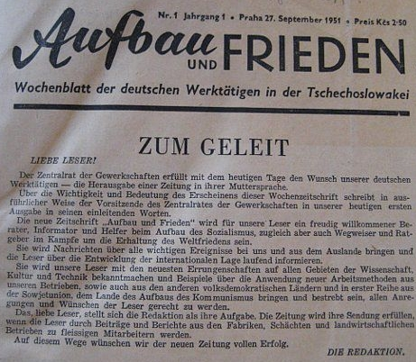 """Záhlaví prvního čísla """"týdeníku německých pracujících vČeskoslovensku"""" sdatem 27. září roku 1951"""