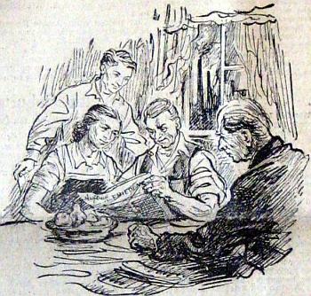 """Za okny rodiny čtenářů listu """"Aufbau und Frieden"""" se nebe černá dýmem továren komunistické moci"""
