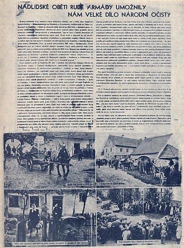 Jeho článek o odsunu ze Žumberku a nastěhování nových českých majitelů provázel i tento výstřižek z dobového tisku