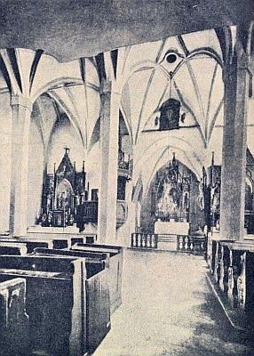 Interiér kostela v Žumberku se starobylou klenbou