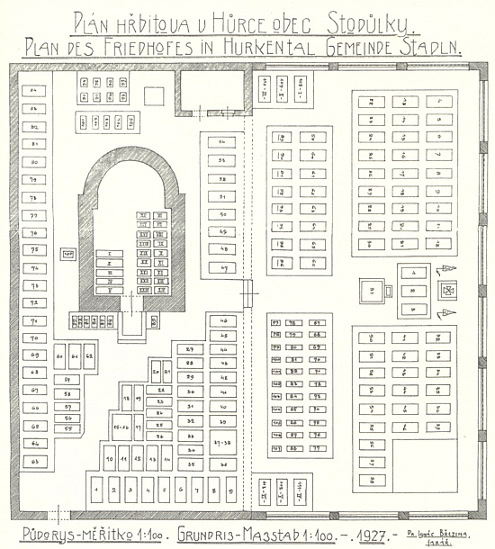 Plán hřbitova v Hůrce, jak ho v roce 1927 nakreslil sám pan farář Březina