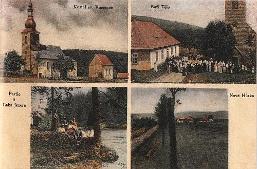 Česká kolorovaná pohlednice z Hůrky zachycuje i zdejší slavnost Božího Těla