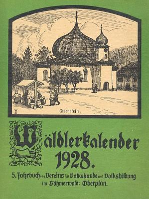 Obálka šumavského kalendáře (1928) s kresbou Wilhelma Fischera...