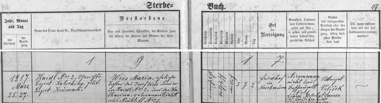 V březnu 1917 zemřela v Lomku čp. 2 pětiletá Maria Weisová, dcera Josefa Weise a Kathariny, roz. Dichtlové zPolečnice čp. 1 (Jousefn), čímž je doloženo příbuzenství Mathilde Lenzové s Josefem Dichtlem