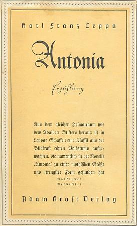 Obálka čtvrtého vydání (1942, Adam Kraft Verlag) jeho novely, na níž ho ke Stifterovi přiřazuje recenze ústředního orgánu NSDAP Völkischer Beobachter (po válce vyšla Antonia znovu až v roce 1956)