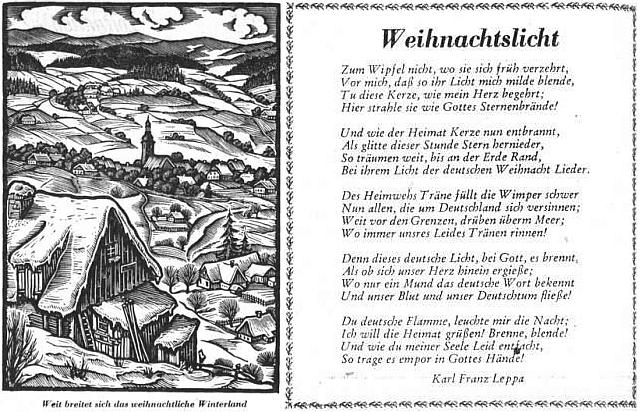 Jeho báseň utěšovala v prvním ročníku Sudetendeutsche Zeitung o Vánocích 1951 vyhnané krajany