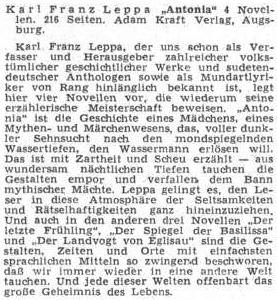 Recenze nového vydání jeho novel nastránkách Sudetendeutsche Zeitung vsrpnu 1955