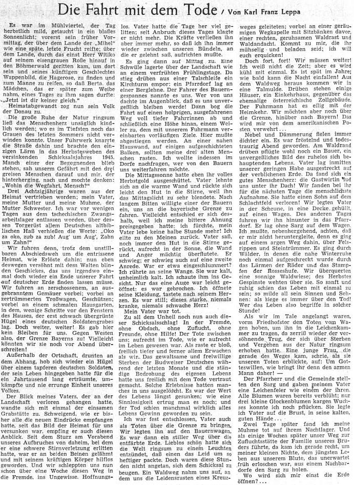 Jeho osobní vzpomínka z časů vyhnání na stránkách Sudetendeutsche Zeitung o Dušičkách roku 1955