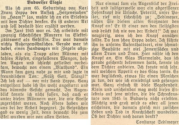 Constanze Sedlmeyerová, manželka Karla Adalberta Sedlmeyera, líčí v této vzpomínce na stránkách krajanského časopisu setkání s Leppou v červnu 1945, kdy byli oba nasazeni jako pomocní dělníci při zednických pracech včeskobudějovické elektrárně