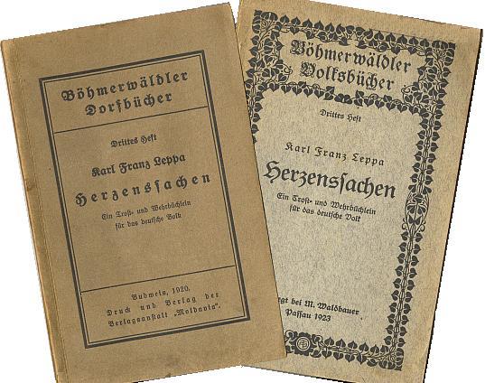 Obálky dvou vydání jedné knihy (první v budějovické Moldavii, to druhé už vyšlo v Pasově v nakladatelství M. Waldbauer)