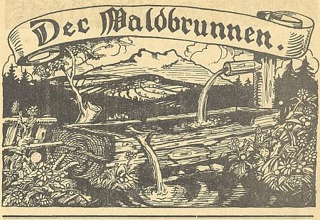 Záhlaví časopisu Der Waldbrunnen (1922-1924), který redigoval - autorem kresby je Reinhold Koeppel, podepsaný na stuze s názvem (viz i Karl Eissner von und zu Eisenstein]