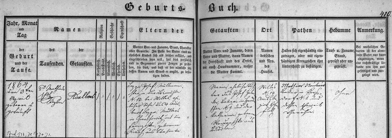 Záznam o jeho narození v zátoňské matrice