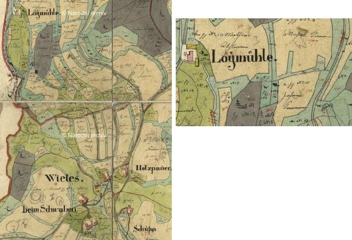 Lojzův mlýn na indikační skice stabilního katastru (viz i Franz Leppa a Karl Franz Leppa)