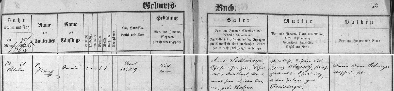 Záznam českobudějovické křestní matriky o narození jeho ženy
