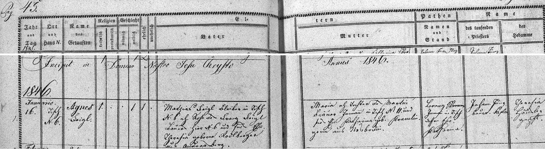 Záznam ktišské křestní matriky o narození jeho ženy